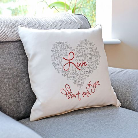 Personalised Love Typographic Cushion